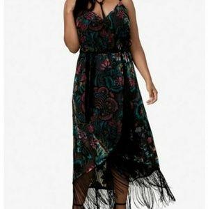 NWT 16W Boho, Floral Velvet Dress with Fringe